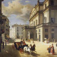Milano, la facciata del teatro alla Scala dipinto di Angelo Inganni, 1852