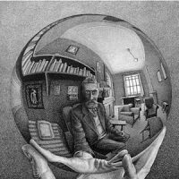 Escher, mano con sfera riflettente, 1935
