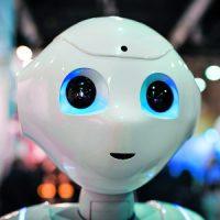 KY93BJ Lucerne, Switzerland - 2 Dec 2017: Humanoid robot Pepper, demonstrated at the Swiss Handicap fair in Lucerne, Switzerland.