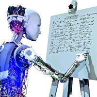 Artificial intelligence systems and education in the future. Robot is writing mathematic formulas on whiteboard.